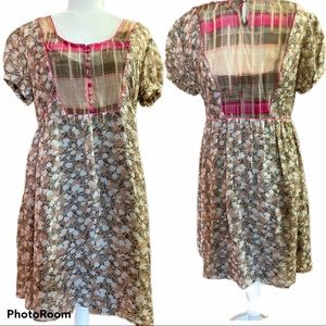 KIMCHI BLUE Silk Dress Brown/Pink Size Large